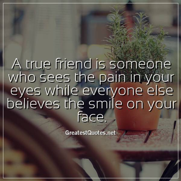 A true friend is someone who sees the pain in your eyes ...