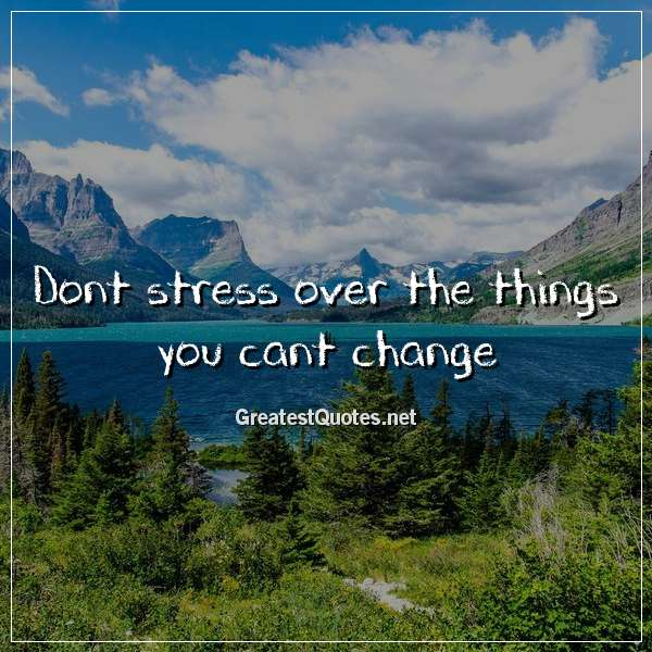 Dont stress over the things you cant change. - Free life ...