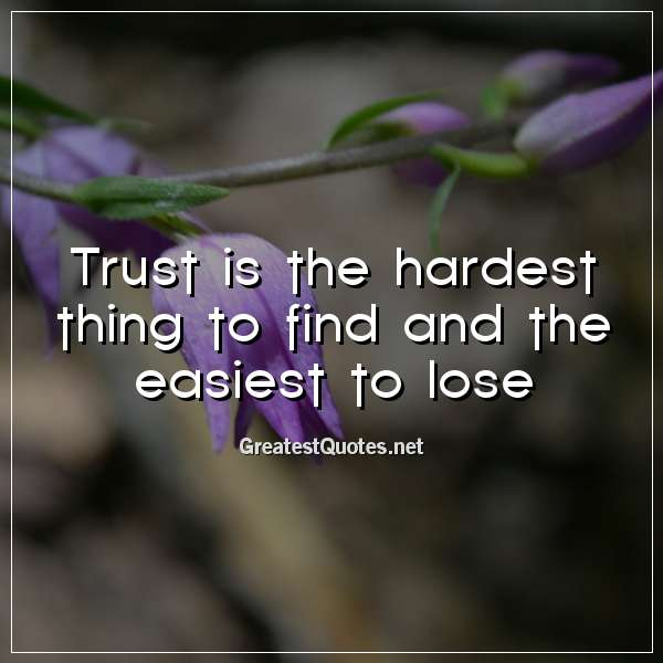 Trust is the hardest thing to find and the easiest to lose