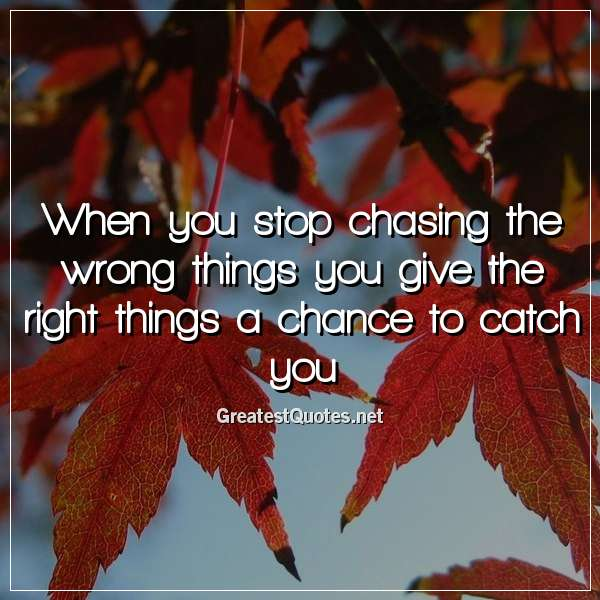 Quote: When you stop chasing the wrong things you give the right things a chance to catch you.