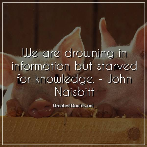 We are drowning in information but starved for knowledge. - John Naisbitt