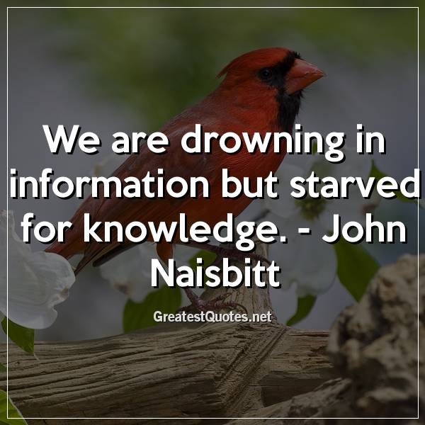We are drowning in information but starved for knowledge. -John Naisbitt