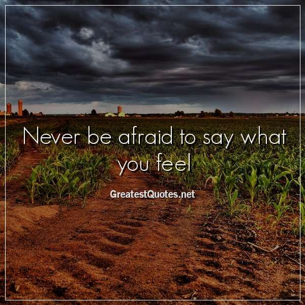 Never be afraid to say what you feel.