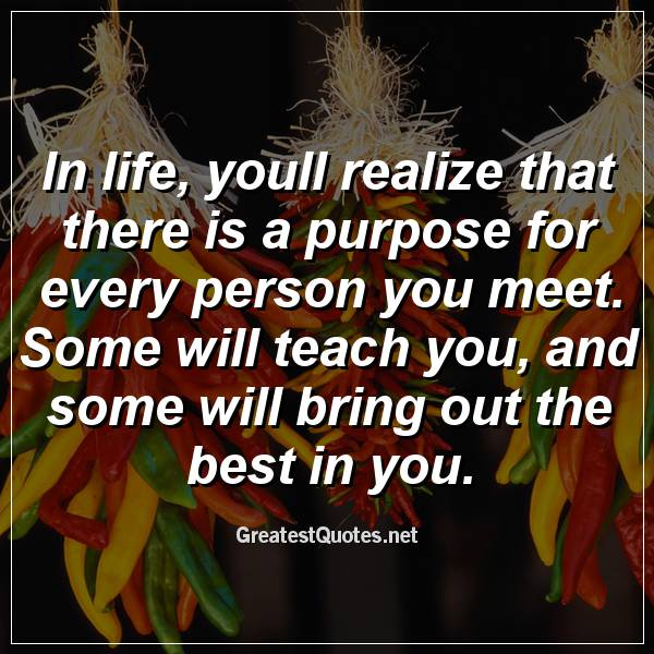 In life, youll realize that there is a purpose for every person you meet. Some will teach you, and some will bring out the best in you.