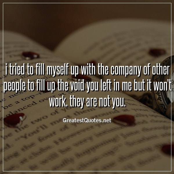 I tried to fill myself up with the company of other people to fill up the void you left in me but it won't work. they are not you
