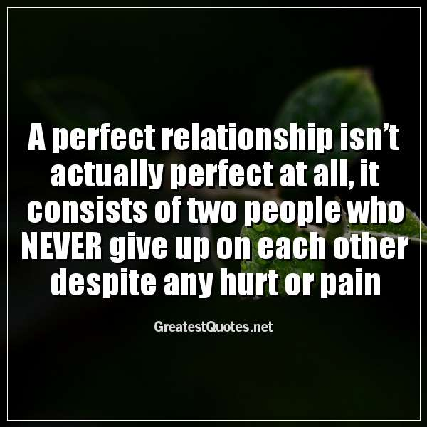 A perfect relationship isn't actually perfect at all, it consists of two people who NEVER give up on each other despite any hurt or pain