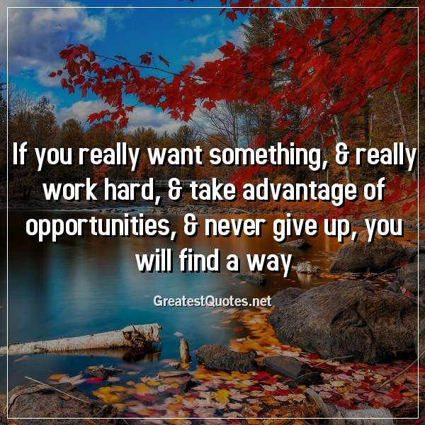 If you really want something, & really work hard, & take advantage of opportunities, & never give up, you will find a way