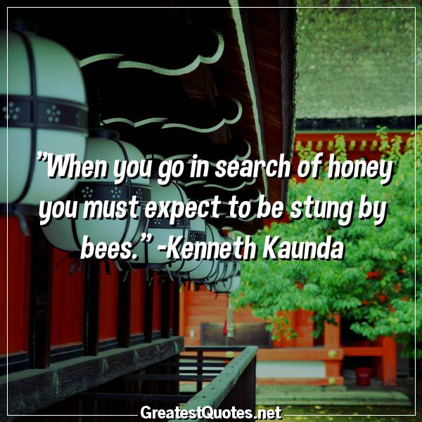When you go in search of honey you must expect to be stung by bees. -Kenneth Kaunda