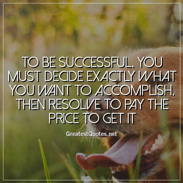 Quote: To be successful, you must decide exactly what you want to accomplish, then resolve to pay the price to get it.