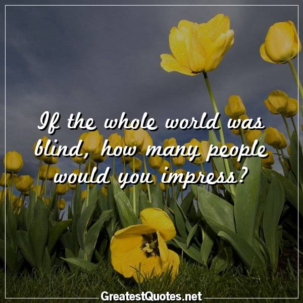 If the whole world was blind, how many people would you impress?