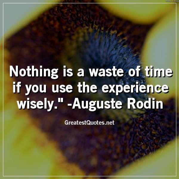 Quote: Nothing is a waste of time if you use the experience wisely. - Auguste Rodin