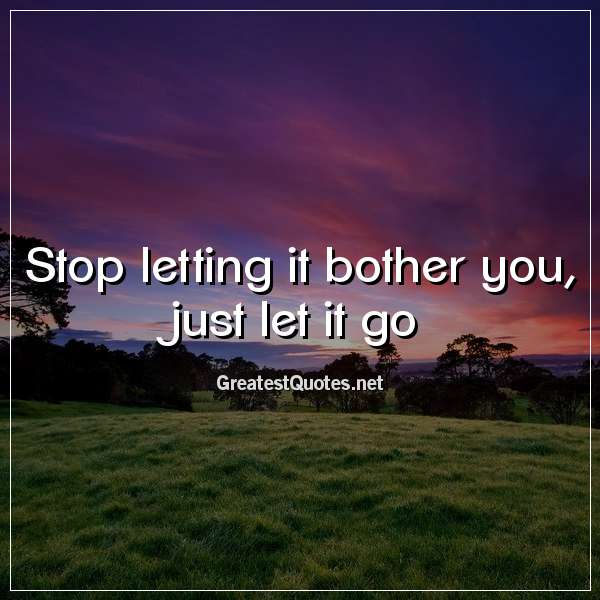 Stop letting it bother you, just let it go.