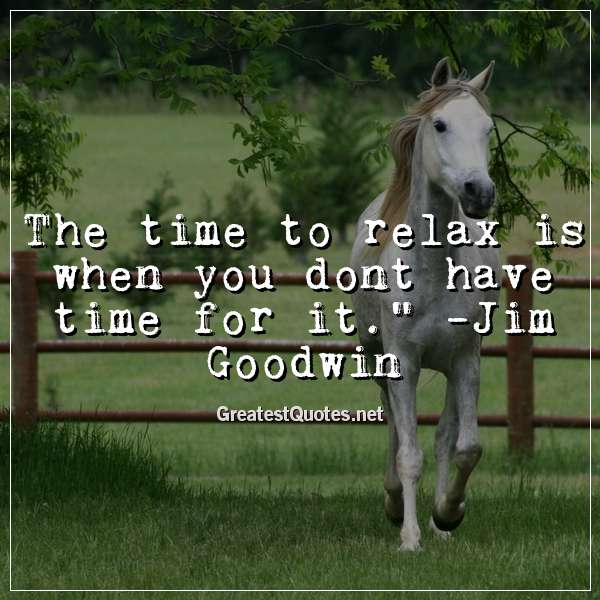The time to relax is when you dont have time for it. -Jim Goodwin