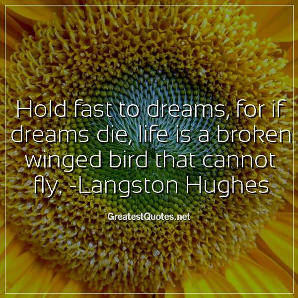 Hold fast to dreams, for if dreams die, life is a broken winged bird that cannot fly. -Langston Hughes
