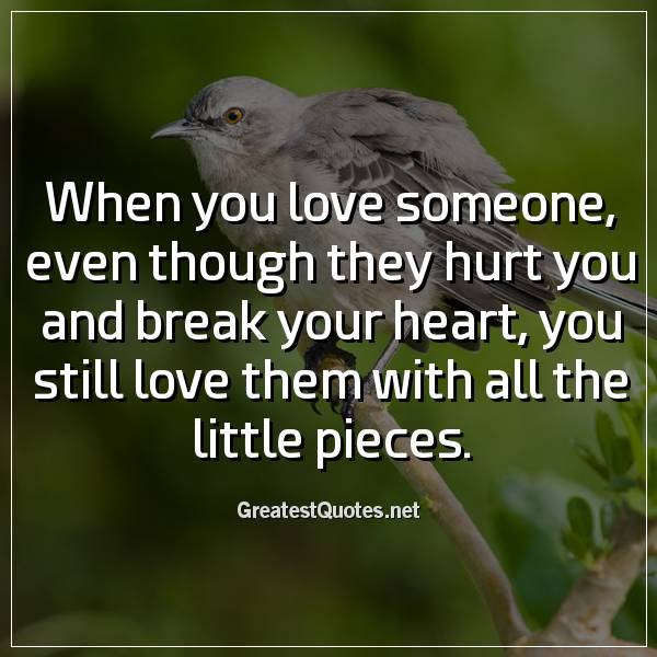 When you love someone, even though they hurt you and break your heart, you still love them with all the little pieces
