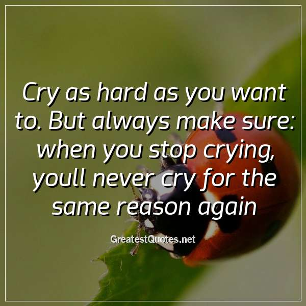 Cry as hard as you want to. But always make sure: when you stop crying, youll never cry for the same reason again.