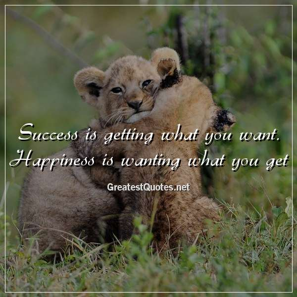 Success is getting what you want. Happiness is wanting what you get.