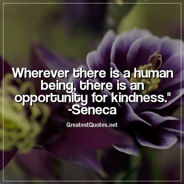 Quote: Wherever there is a human being, there is an opportunity for kindness. - Seneca
