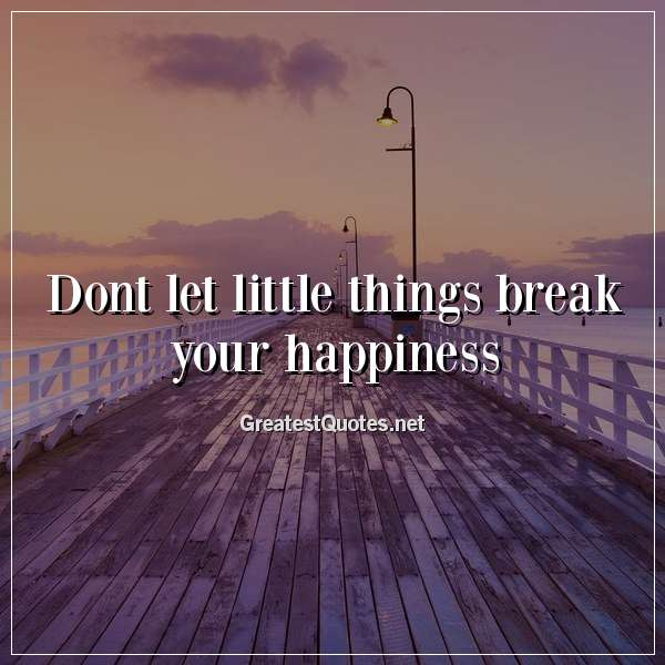 Quote: Dont let little things break your happiness.