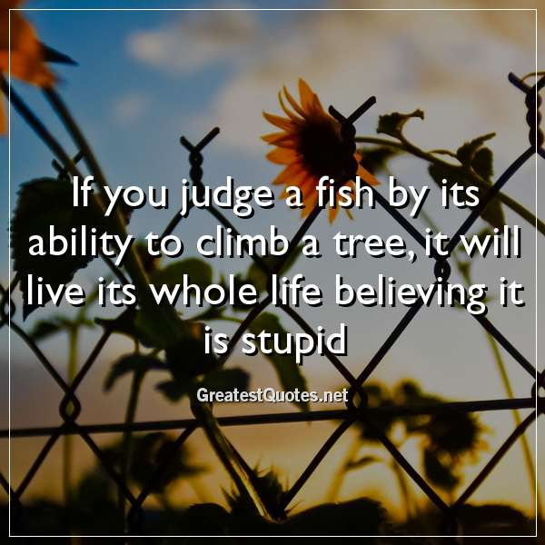 If you judge a fish by its ability to climb a tree, it will live its whole life believing it is stupid.