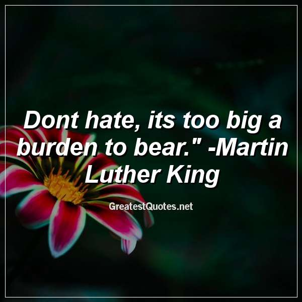 Quote: Dont hate, its too big a burden to bear. - Martin Luther King.