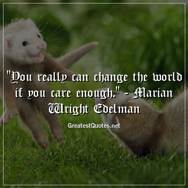 You really can change the world if you care enough. - Marian Wright Edelman