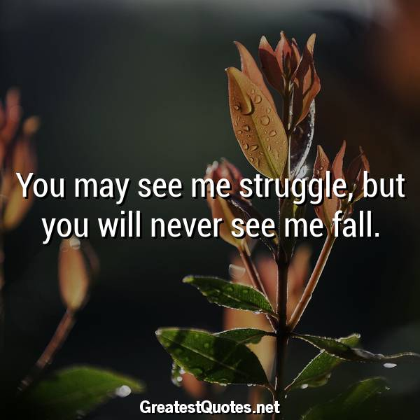 You may see me struggle, but you will never see me fall.