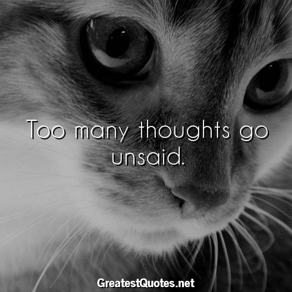 Quote: Too many thoughts go unsaid.