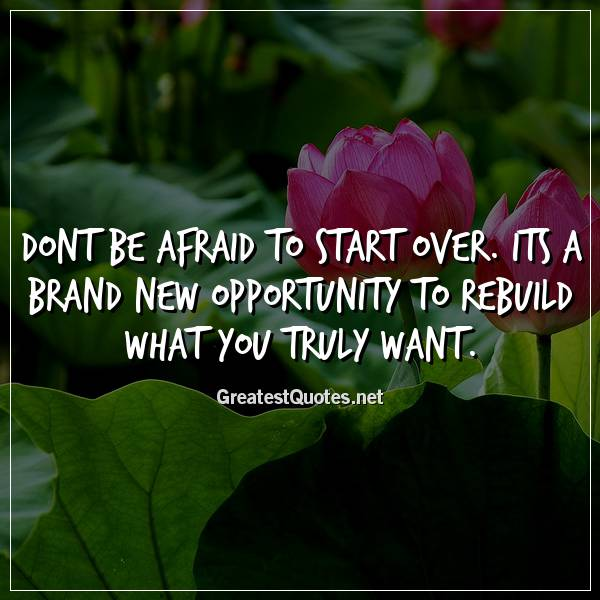 Quote: Dont be afraid to start over. Its a brand new opportunity to rebuild what you truly want.