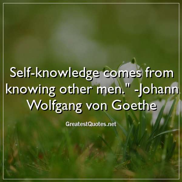 Quote: Self-knowledge comes from knowing other men. - Johann Wolfgang von Goethe