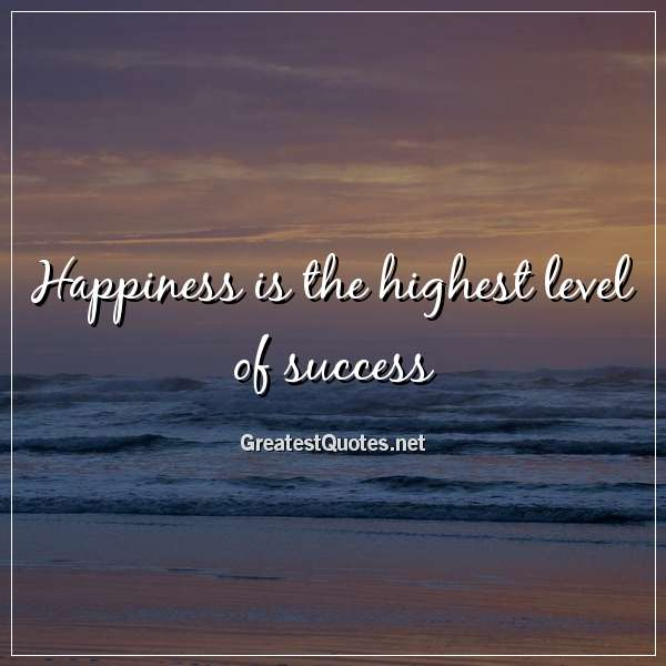 Happiness is the highest level of success