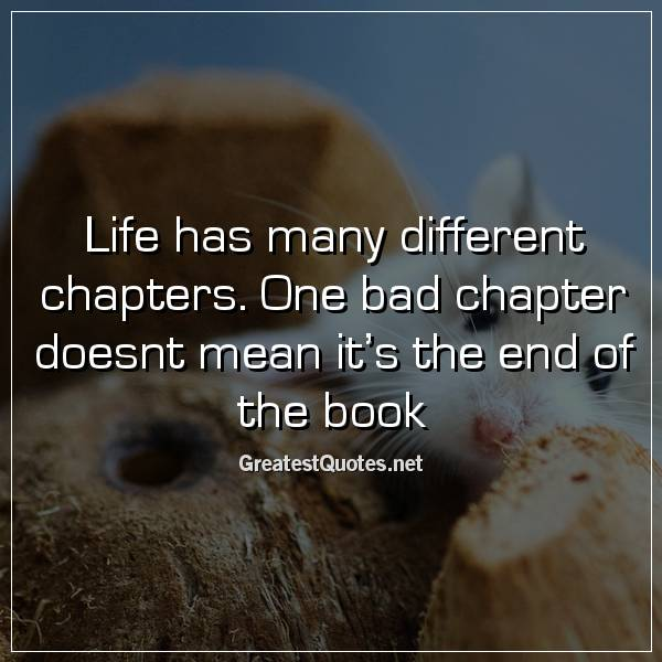 Life has many different chapters. One bad chapter doesnt mean it's the end of the book