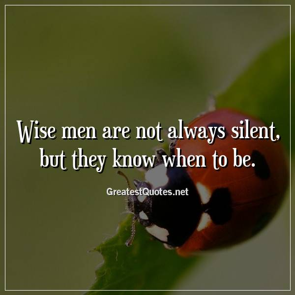 Quote: Wise men are not always silent, but they know when to be.