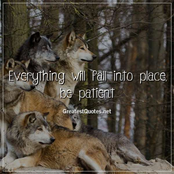 Everything will fall into place, be patient.