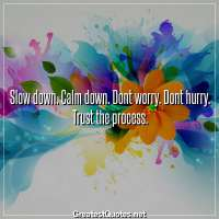Slow down. Calm down. Dont worry. Dont hurry. Trust the process