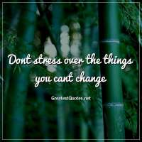 Dont stress over the things you cant change