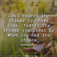 Don't regret the things you have done, regret the things you didnt do when you had the chance.