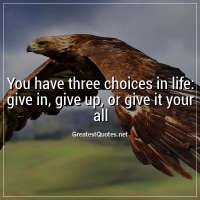 You have three choices in life: give in, give up, or give it your all