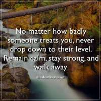 No matter how badly someone treats you, never drop down to their level. Remain calm, stay strong, and walk away