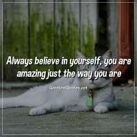 Always believe in yourself, you are amazing just the way you are