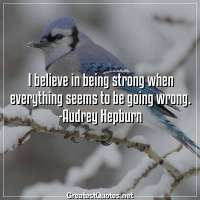 I believe in being strong when everything seems to be going wrong. -Audrey Hepburn