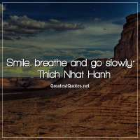 Smile, breathe and go slowly. -Thich Nhat Hanh