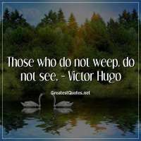 Those who do not weep, do not see. - Victor Hugo