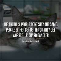 The truth is, people dont stay the same. People either get better or they get worse. - Richard Bandler