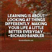 Learning is about looking at things differently, making your life a little better everyday. -Richard Bandler