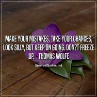 Make your mistakes, take your chances, look silly, but keep on going. Don?t freeze up. - Thomas Wolfe