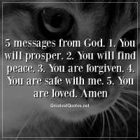 5 messages from God. 1. You will prosper. 2. You will find peace. 3. You are forgiven. 4. You are safe with me. 5. You are loved. Amen