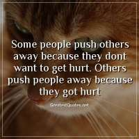 Some people push others away because they dont want to get hurt. Others push people away because they got hurt