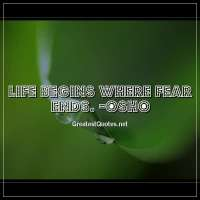 Life begins where fear ends. -Osho
