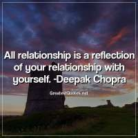 All relationship is a reflection of your relationship with yourself. -Deepak Chopra